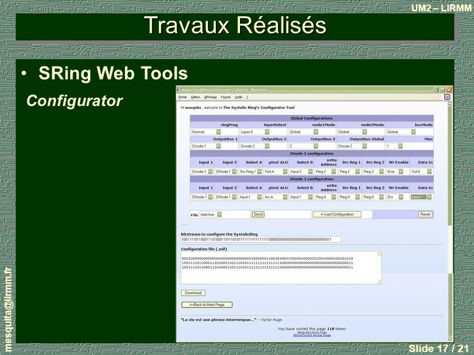 Travaux Réalisés SRing Web Tools Configurator mesquita@lirmm.fr