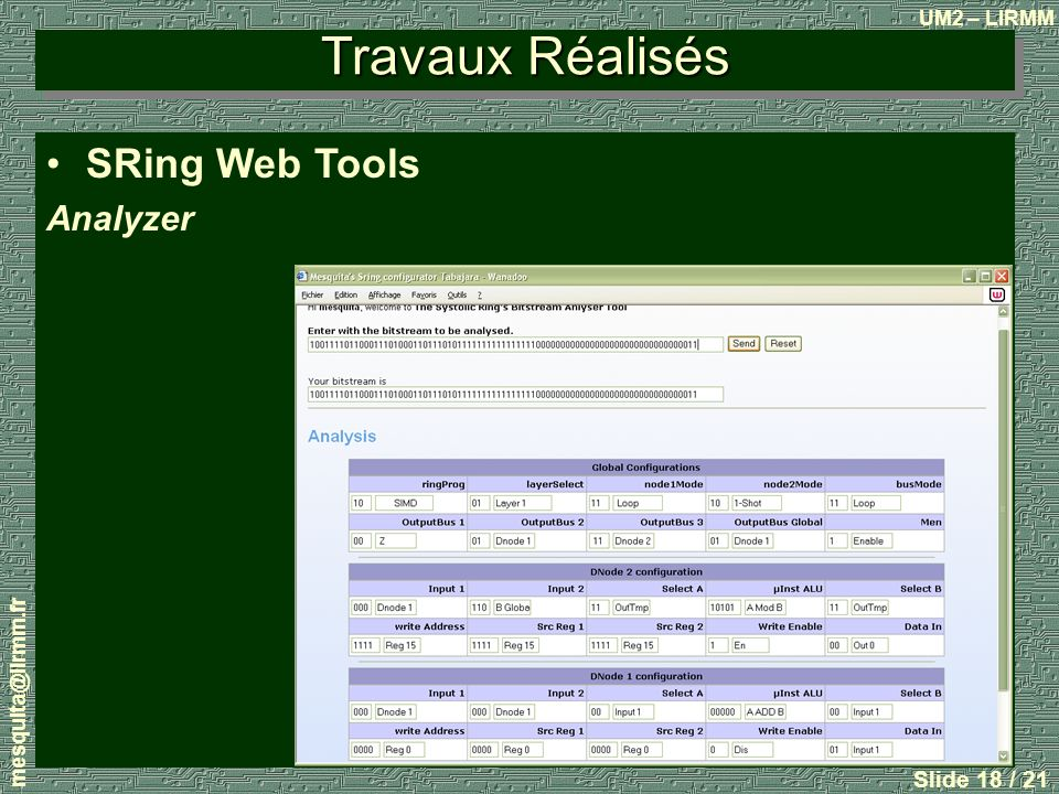 Travaux Réalisés SRing Web Tools Analyzer mesquita@lirmm.fr