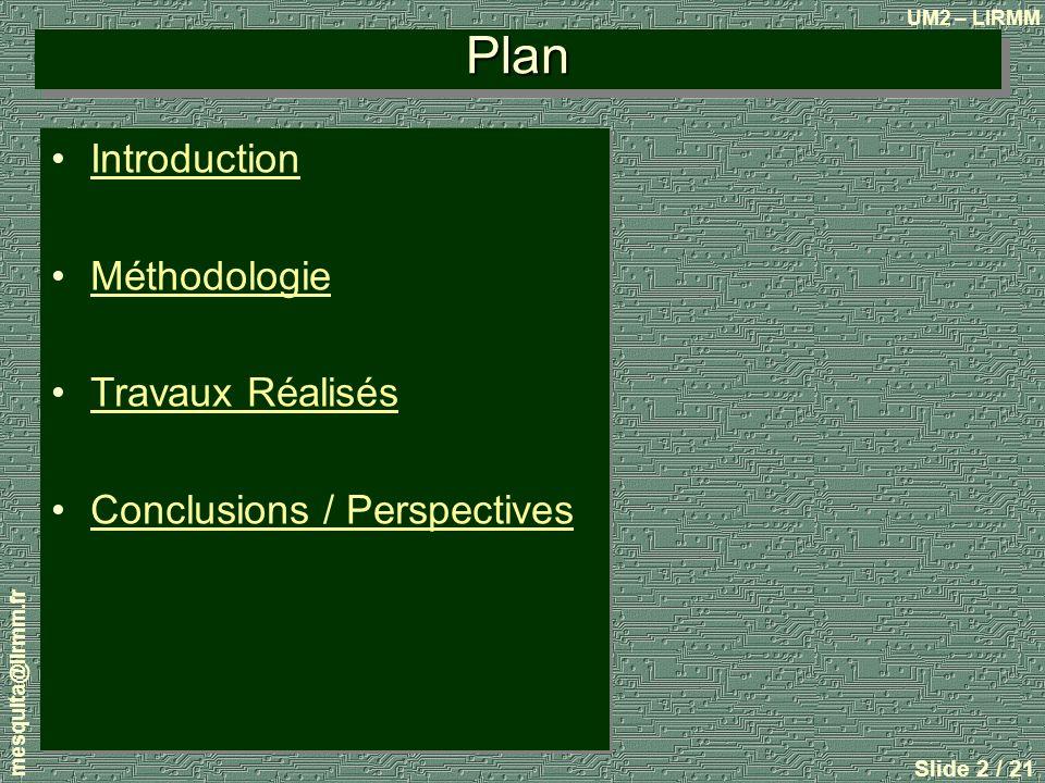 Plan Introduction Méthodologie Travaux Réalisés