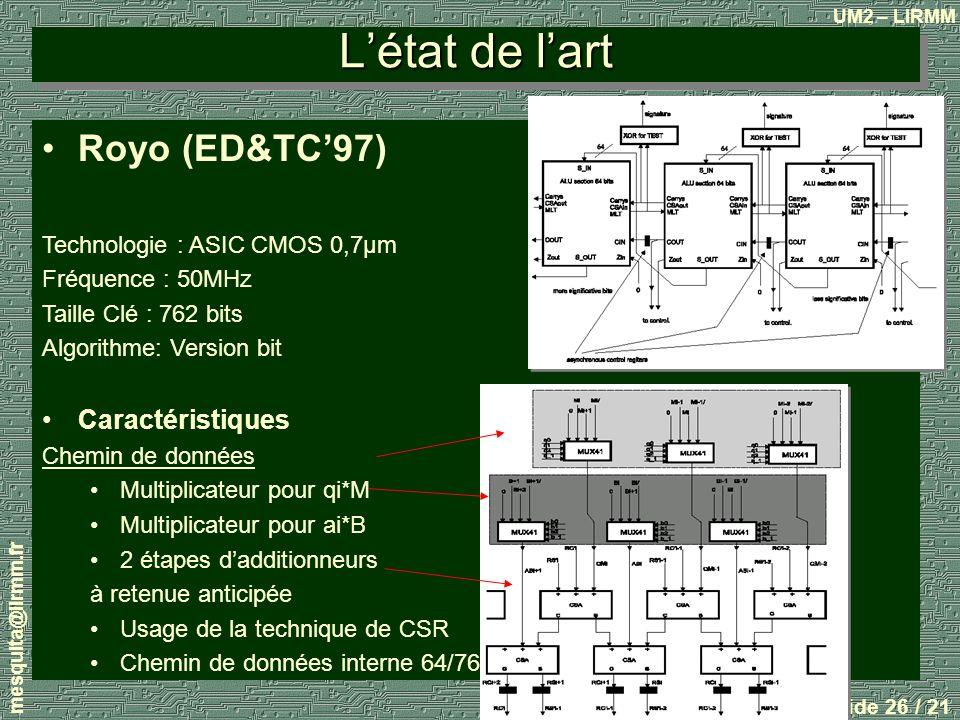 L'état de l'art Royo (ED&TC'97) Caractéristiques