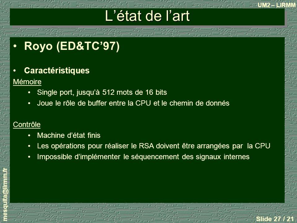 L'état de l'art Royo (ED&TC'97) Caractéristiques Mémoire