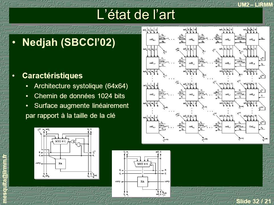 L'état de l'art Nedjah (SBCCI'02) Caractéristiques