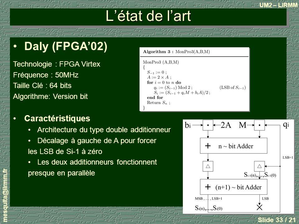 L'état de l'art Daly (FPGA'02) Caractéristiques