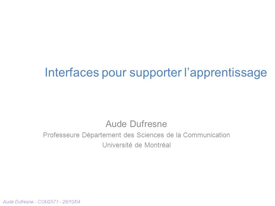 Interfaces pour supporter l'apprentissage