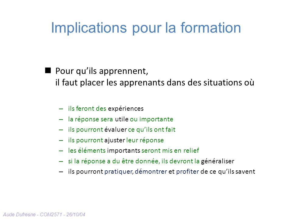 Implications pour la formation