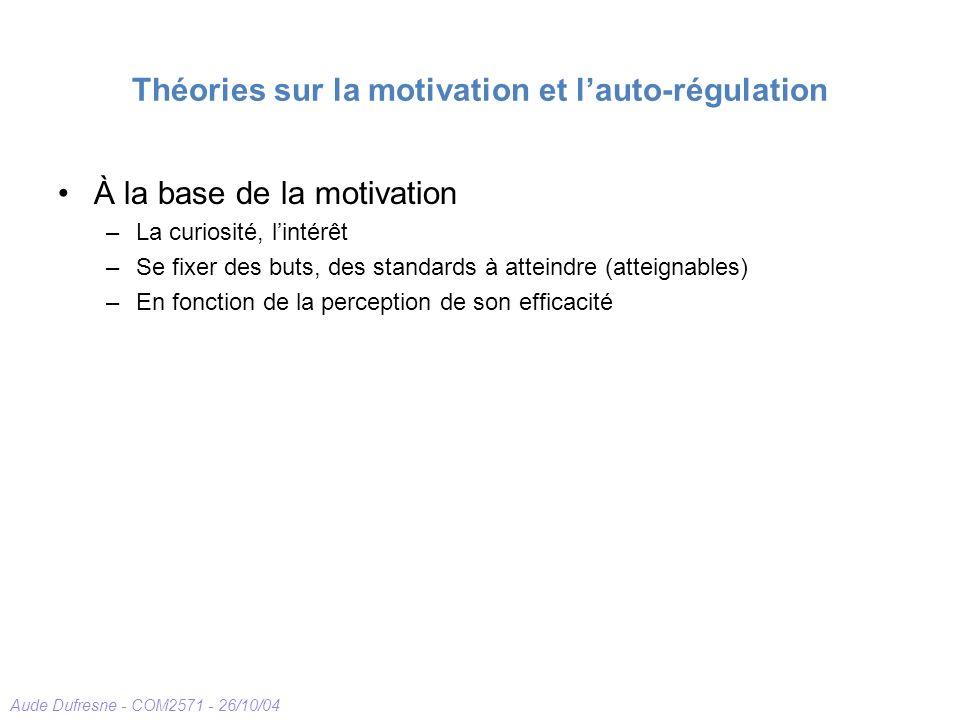 Théories sur la motivation et l'auto-régulation