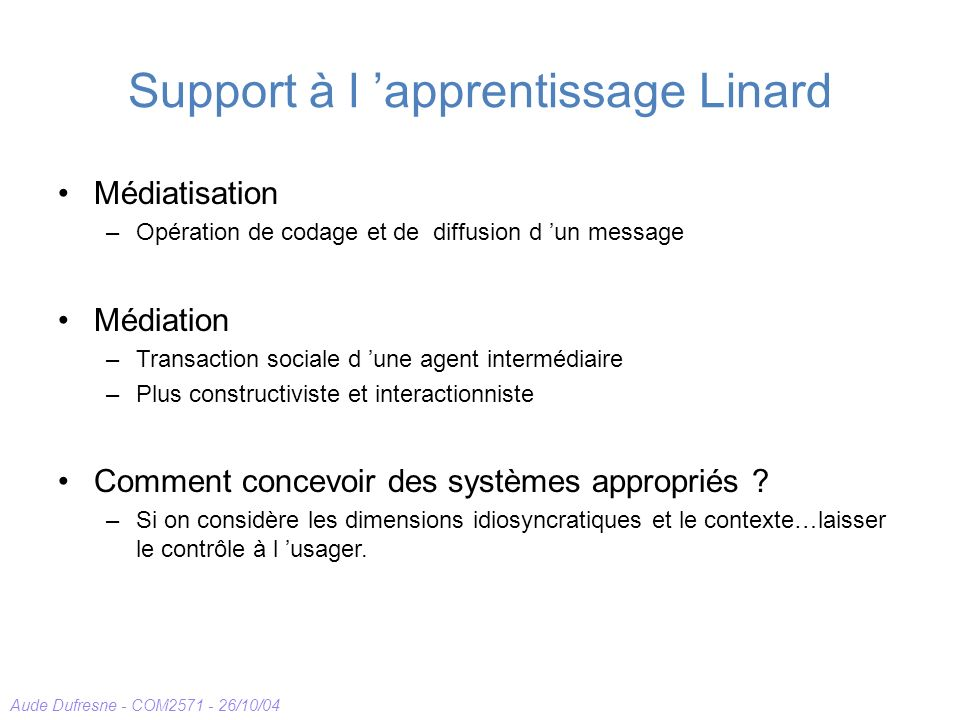 Support à l 'apprentissage Linard