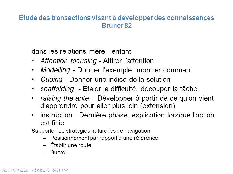Étude des transactions visant à développer des connaissances Bruner 82