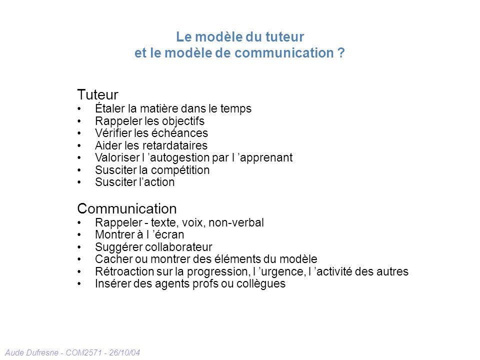 Le modèle du tuteur et le modèle de communication
