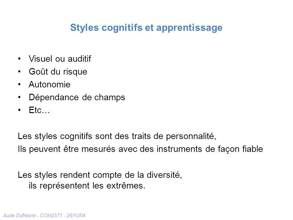 Styles cognitifs et apprentissage