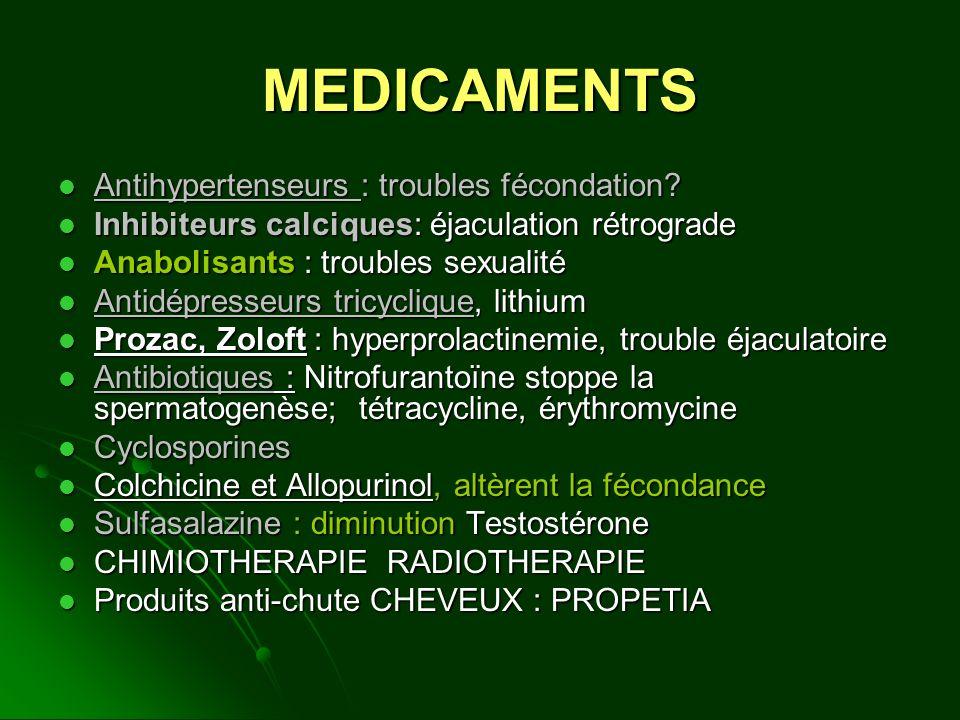 MEDICAMENTS Antihypertenseurs : troubles fécondation