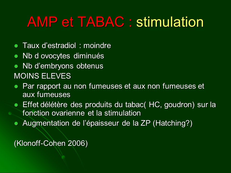 AMP et TABAC : stimulation