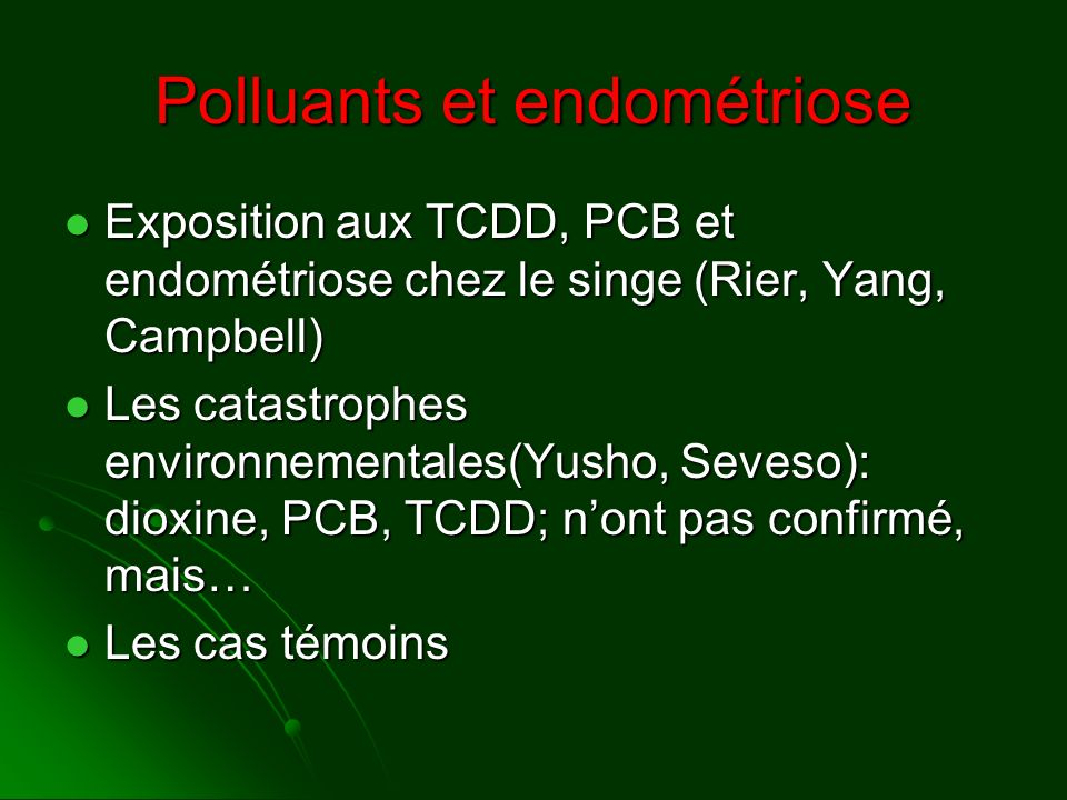 Polluants et endométriose