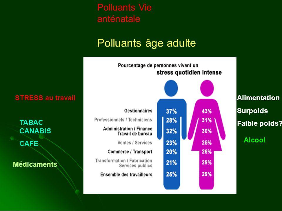 Polluants âge adulte Polluants Vie anténatale STRESS au travail