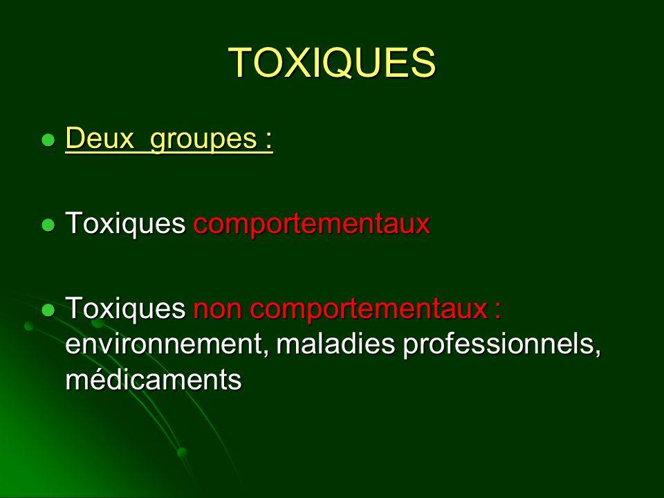 TOXIQUES Deux groupes : Toxiques comportementaux
