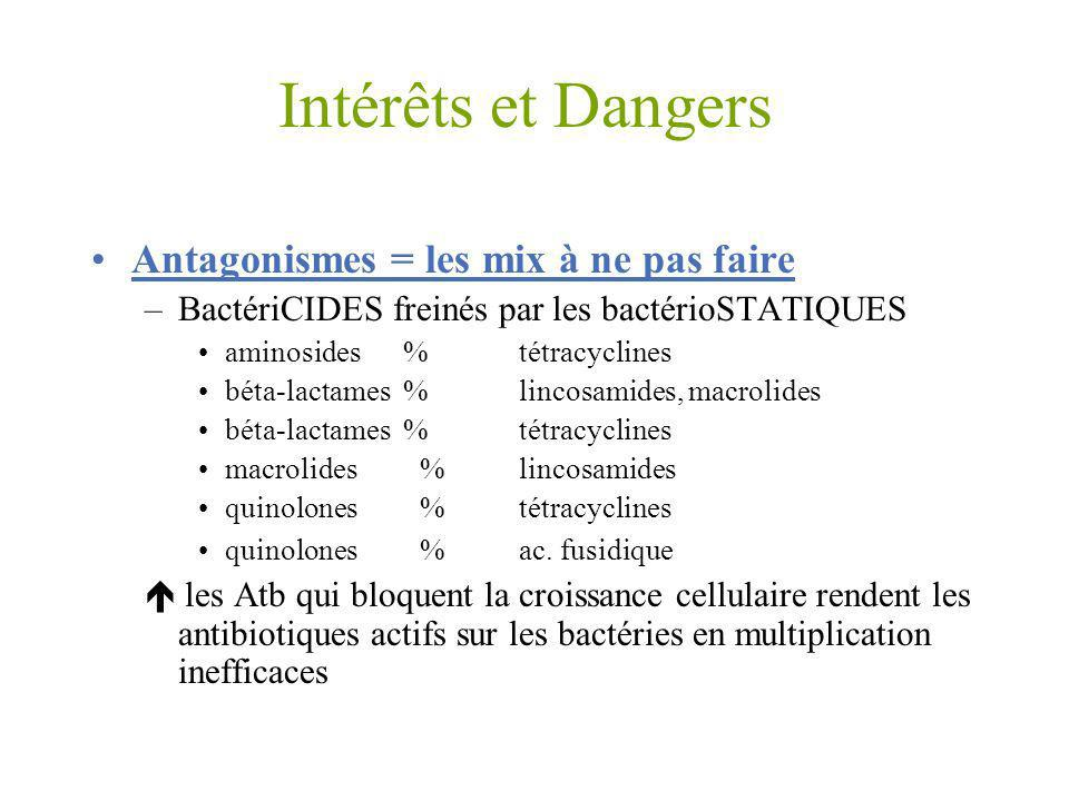 Intérêts et Dangers Antagonismes = les mix à ne pas faire