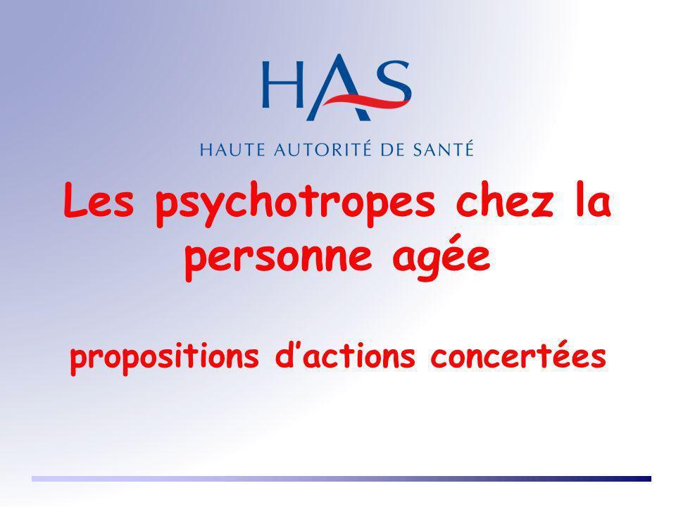 Les psychotropes chez la personne agée propositions d'actions concertées