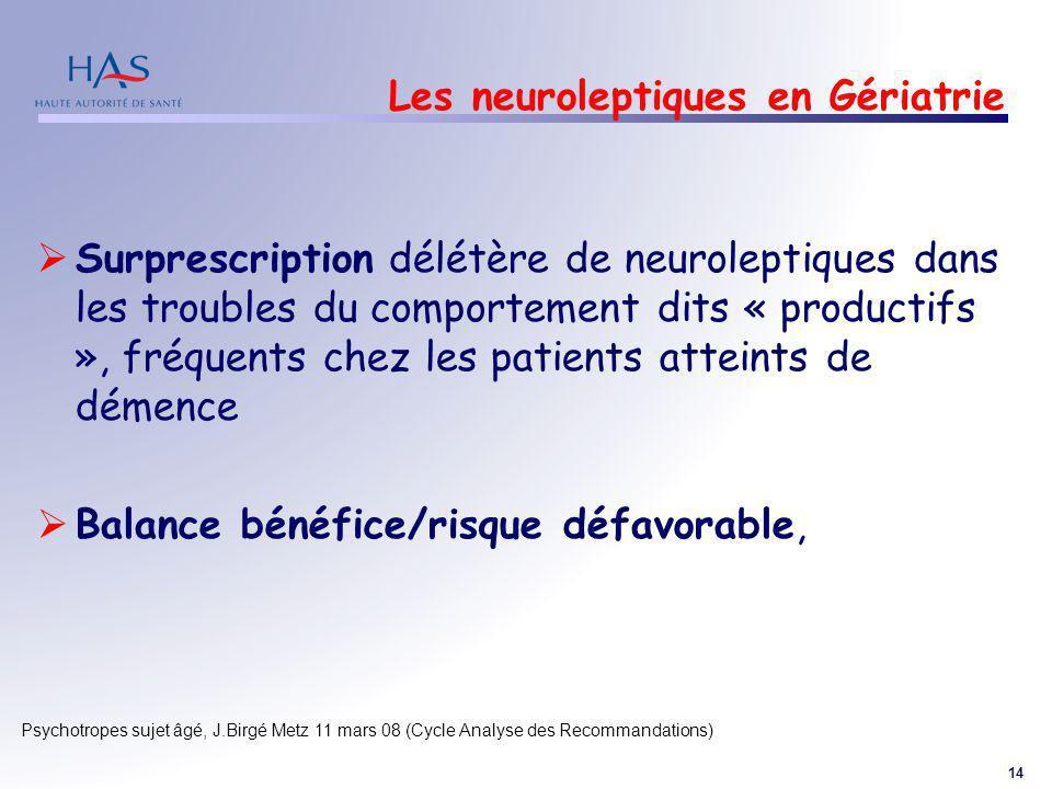 Les neuroleptiques en Gériatrie