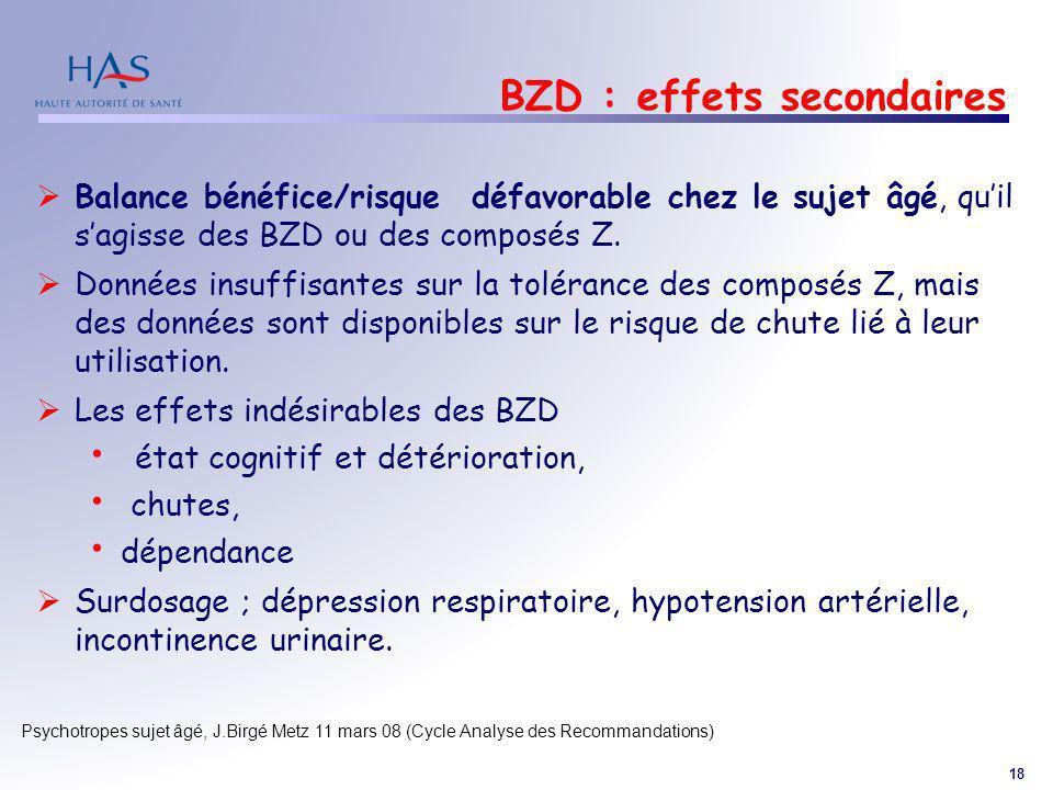 BZD : effets secondaires