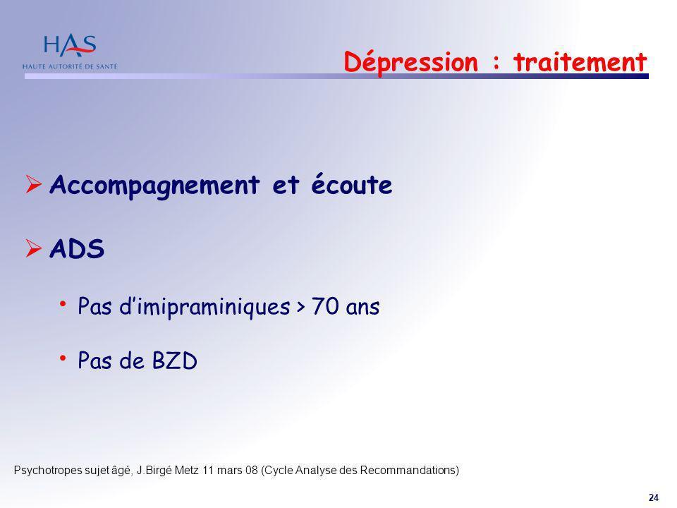 Dépression : traitement