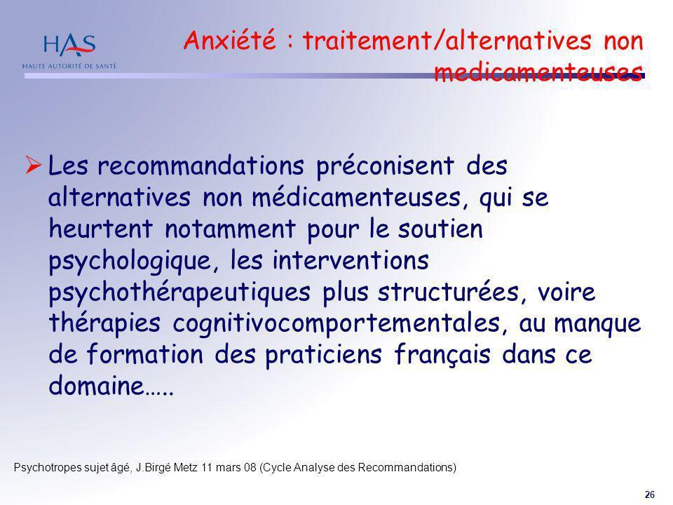 Anxiété : traitement/alternatives non medicamenteuses