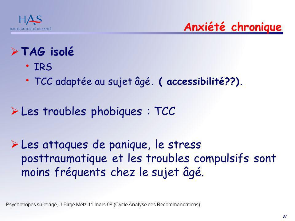 Les troubles phobiques : TCC