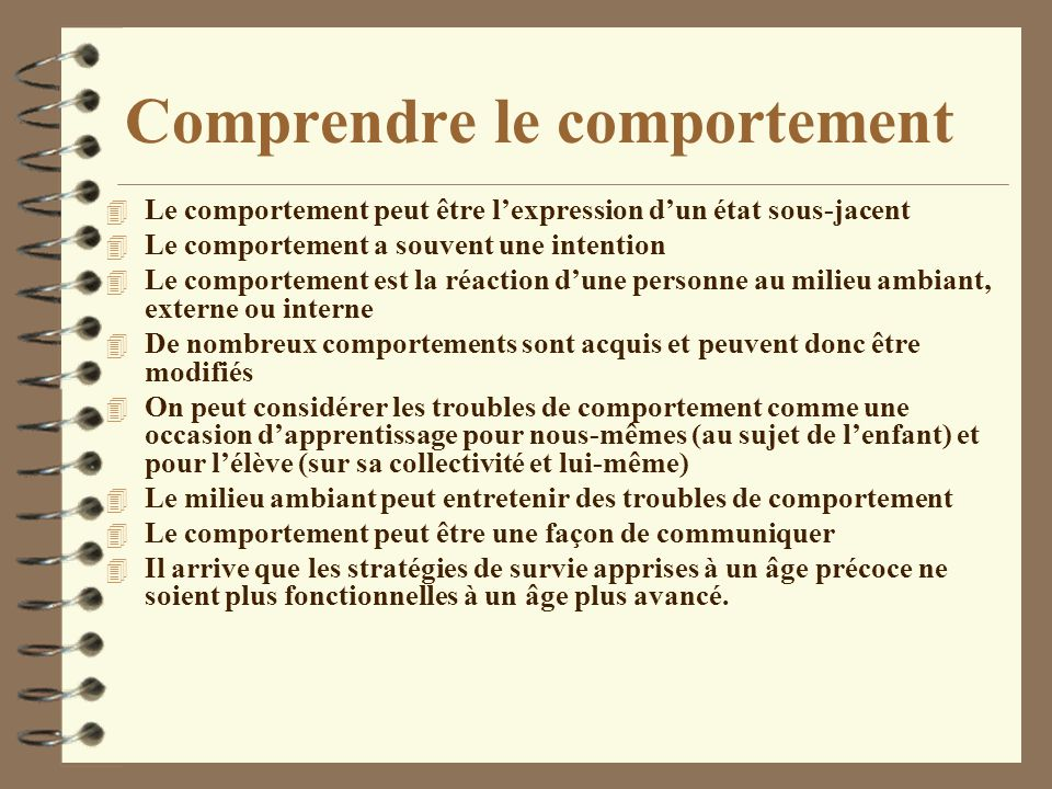 Comprendre le comportement