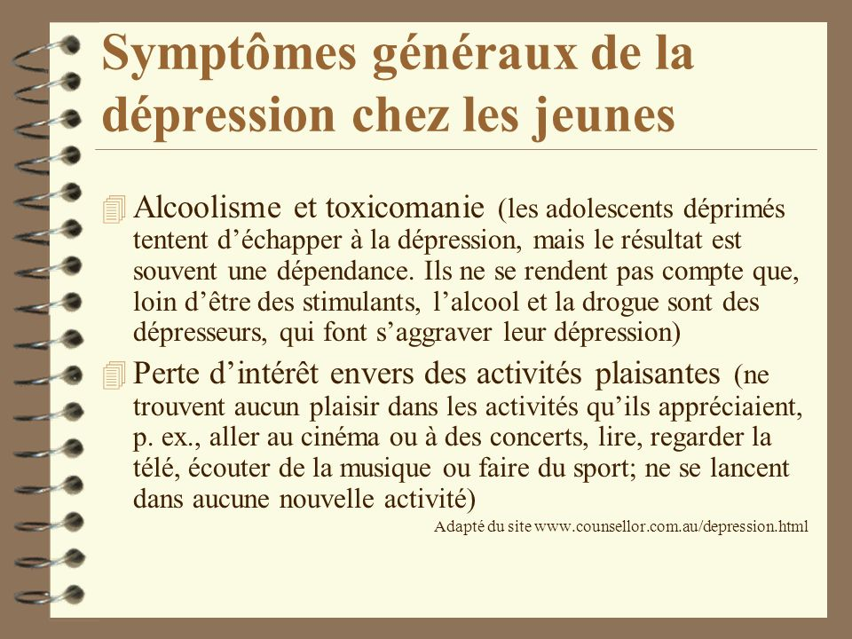 Symptômes généraux de la dépression chez les jeunes