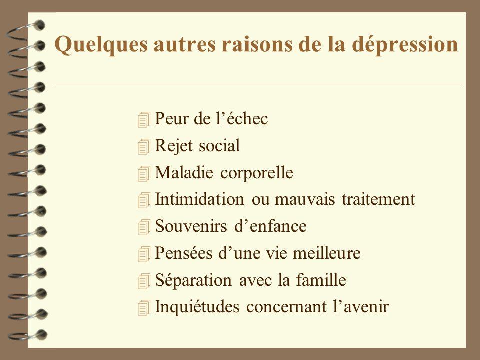 Quelques autres raisons de la dépression