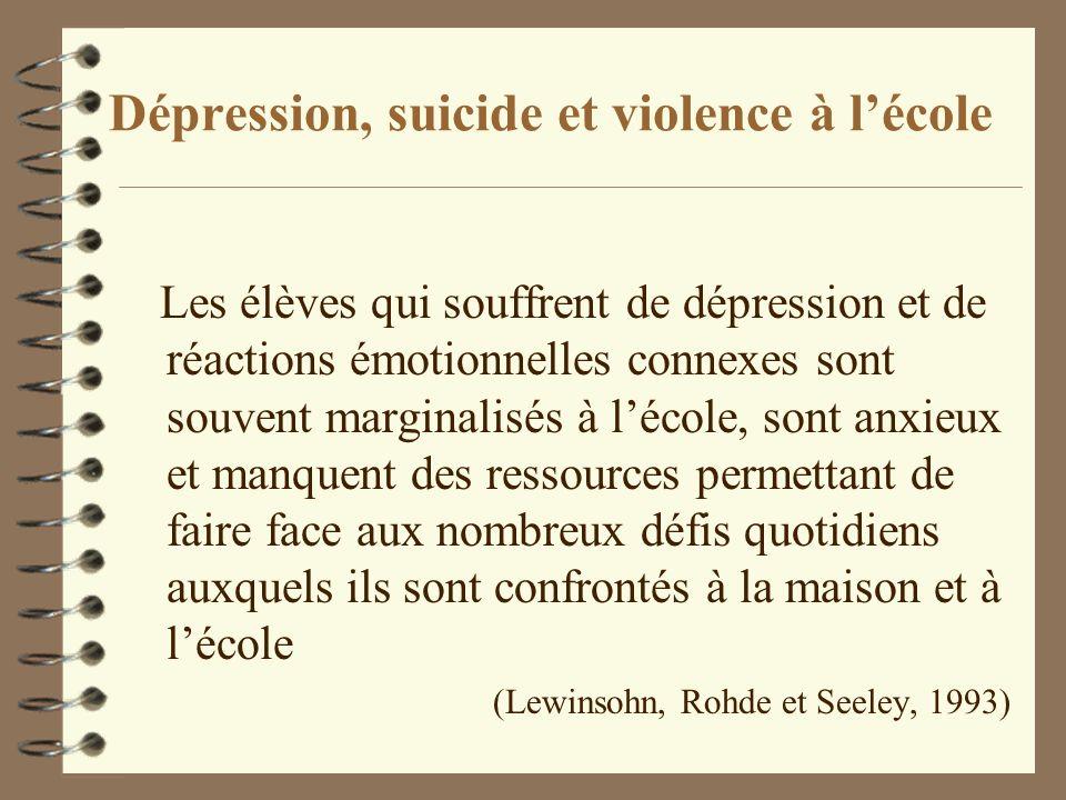 Dépression, suicide et violence à l'école