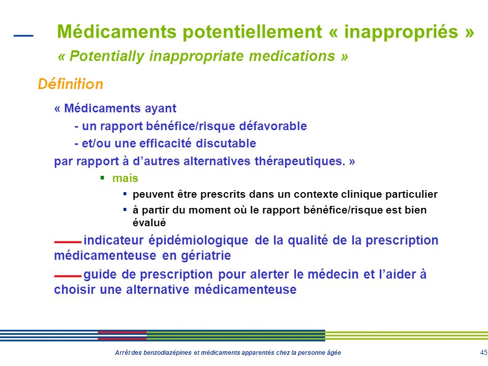 Médicaments potentiellement « inappropriés » « Potentially inappropriate medications »