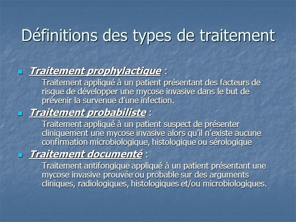 Définitions des types de traitement