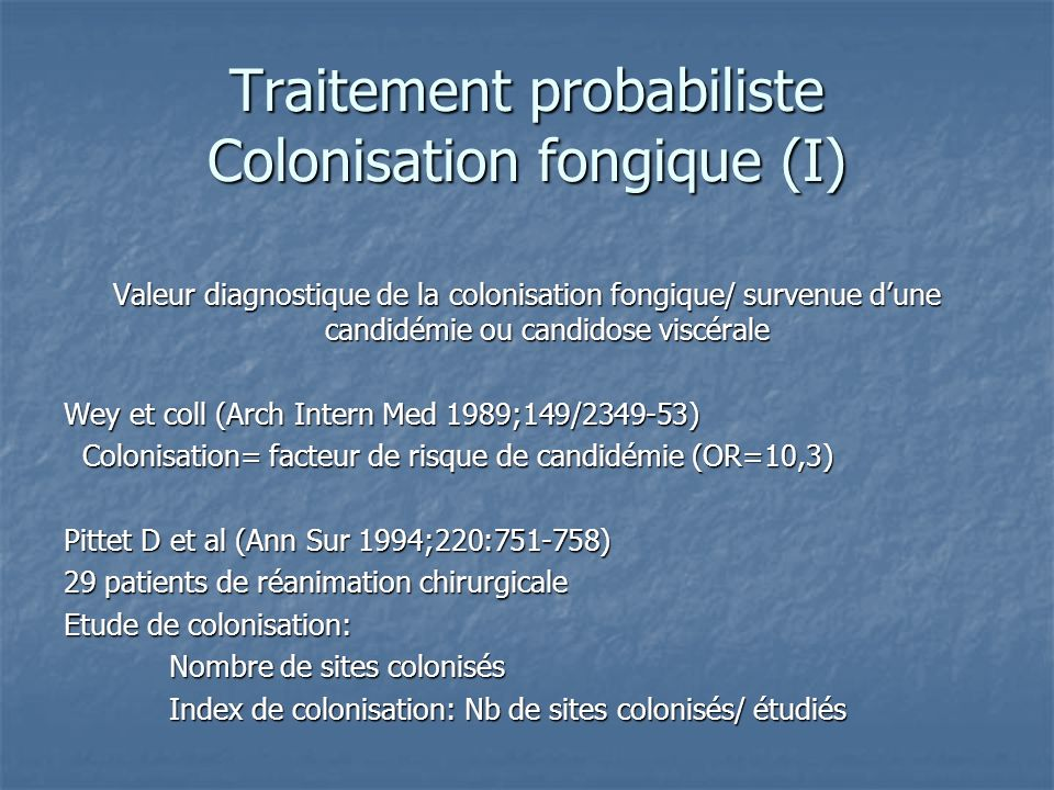 Traitement probabiliste Colonisation fongique (I)