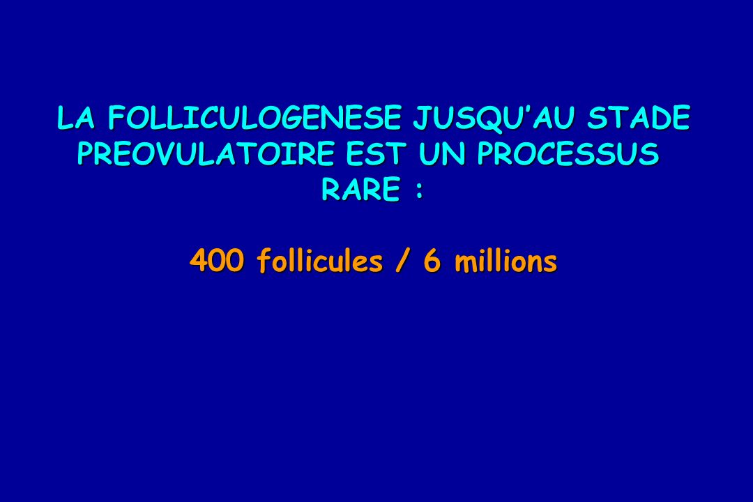 LA FOLLICULOGENESE JUSQU'AU STADE PREOVULATOIRE EST UN PROCESSUS