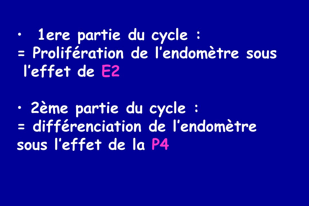 1ere partie du cycle : = Prolifération de l'endomètre sous. l'effet de E2. 2ème partie du cycle :