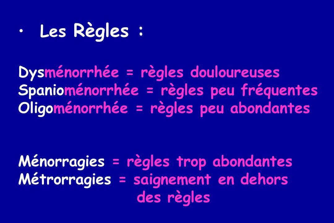 Les Règles : Dysménorrhée = règles douloureuses