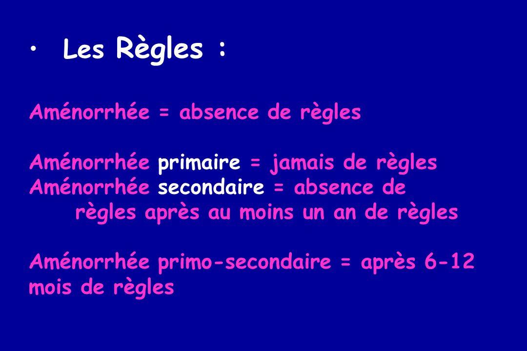 Les Règles : Aménorrhée = absence de règles