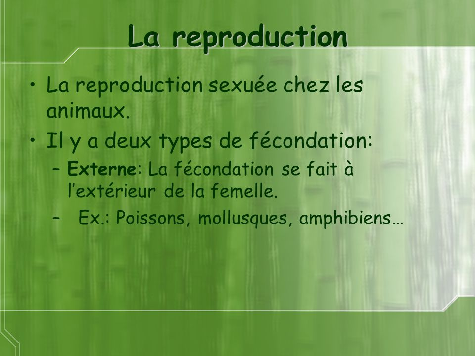 La reproduction La reproduction sexuée chez les animaux.