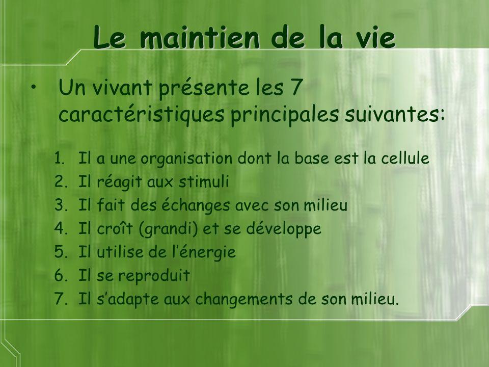 Le maintien de la vie Un vivant présente les 7 caractéristiques principales suivantes: Il a une organisation dont la base est la cellule.