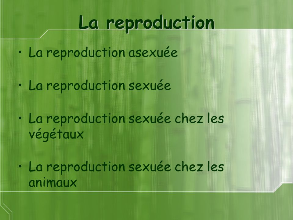 La reproduction La reproduction asexuée La reproduction sexuée