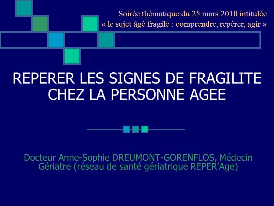 REPERER LES SIGNES DE FRAGILITE CHEZ LA PERSONNE AGEE