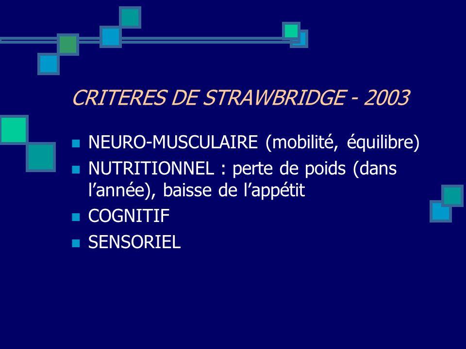 CRITERES DE STRAWBRIDGE - 2003