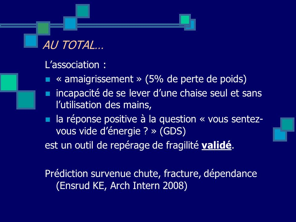 AU TOTAL… L'association : « amaigrissement » (5% de perte de poids)