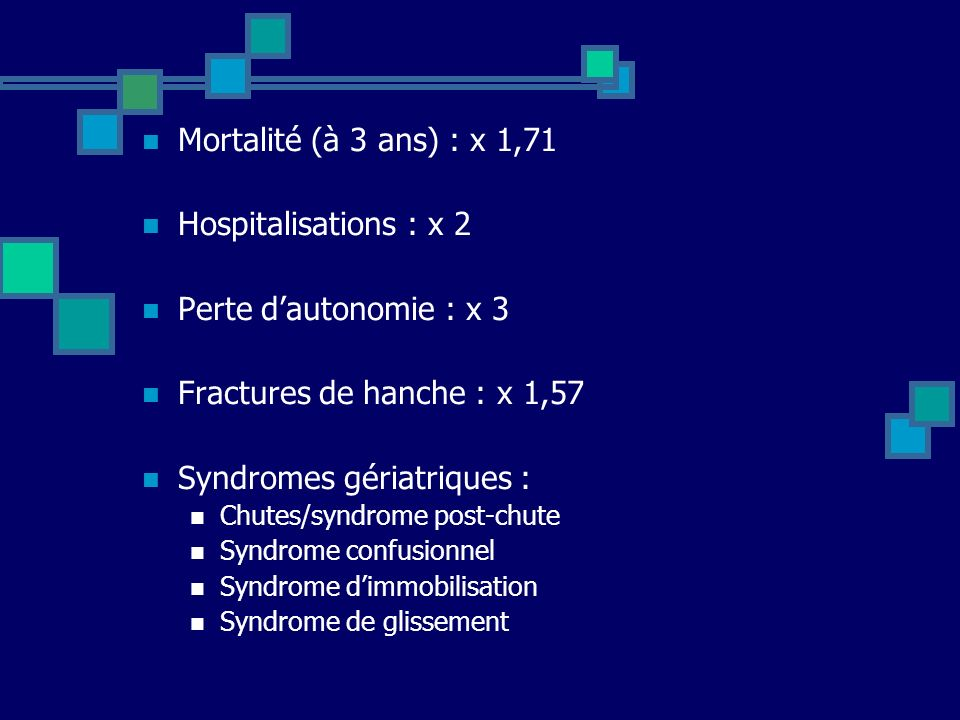 Syndromes gériatriques :