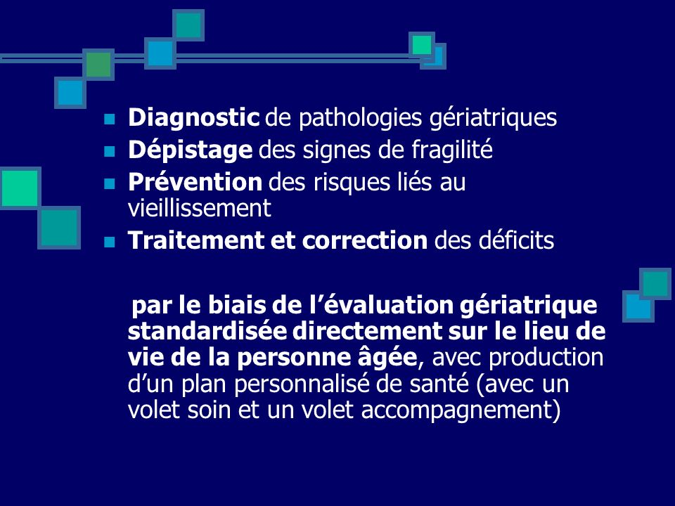 Diagnostic de pathologies gériatriques