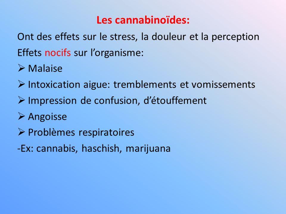 Les cannabinoïdes: Ont des effets sur le stress, la douleur et la perception. Effets nocifs sur l'organisme: