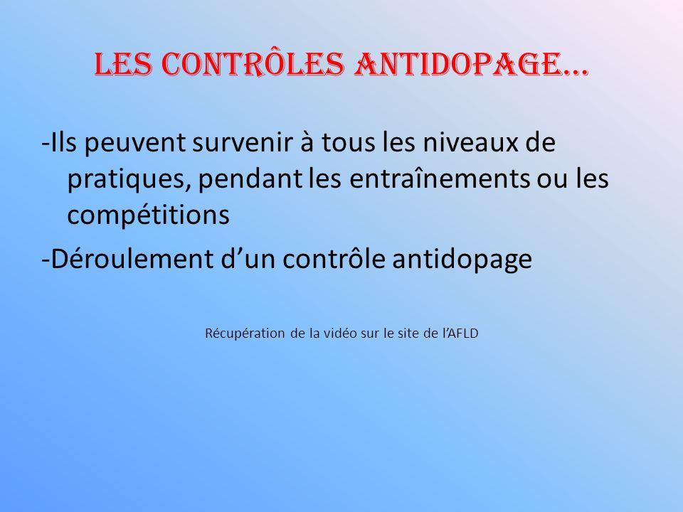 Les contrôles antidopage…