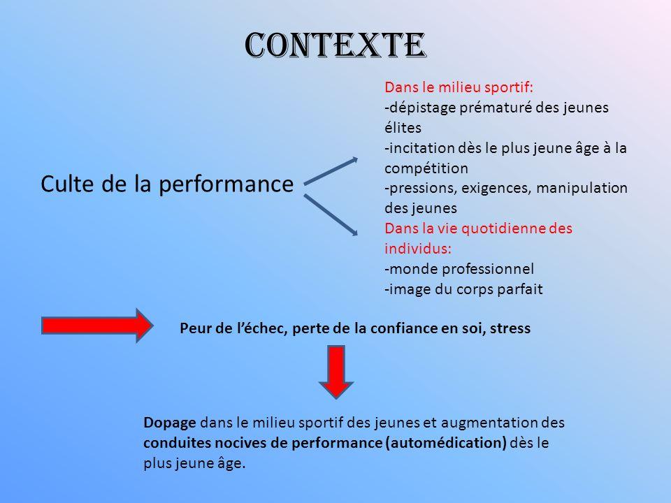 Contexte Culte de la performance Dans le milieu sportif: