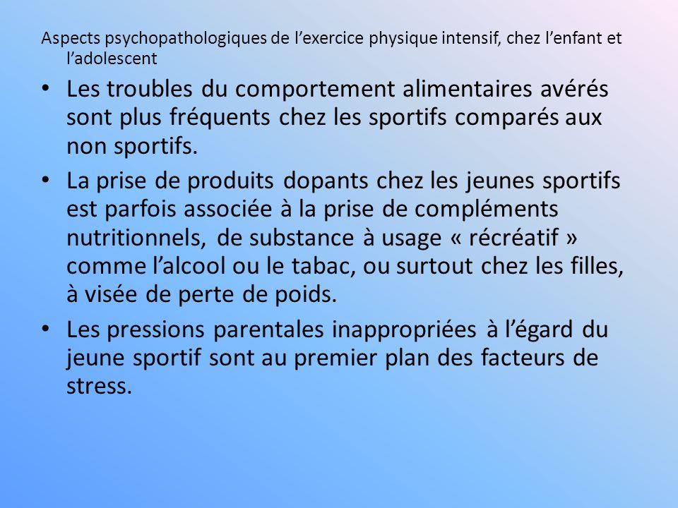 Aspects psychopathologiques de l'exercice physique intensif, chez l'enfant et l'adolescent