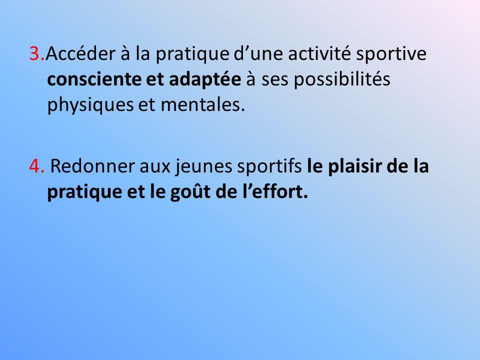3.Accéder à la pratique d'une activité sportive consciente et adaptée à ses possibilités physiques et mentales.